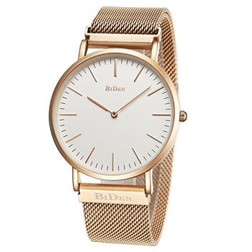 Unisex Watch Luxury Fashion Rose Gold Super Thin Case Waterproof Analog Quartz Magnetic Apple Watch Band Wrist Watch