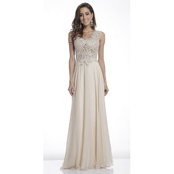 Illusion Sleeveless Evening Dress Champagne Lace Appliques