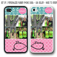 PERSONALIZED PHOTO COLLAGE PINK TEAL TRELLIS Best Friends iPhone 4 4S 5 5S CASES