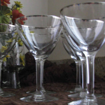 Vintage Very Elegant Platinum Silver Trim Wine Glasses, Lovely Wedding Gift