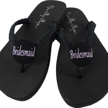 Lavender & Black Bridesmaid Flip Flops: or choose your colors