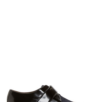 Marni Midnight Calfhair And Gold Toecap Derby Shoes