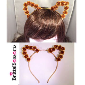Gold Cat Ears, Cat Ears, Flower Cat Eats, Flower headband, Flower halo, Flower crown