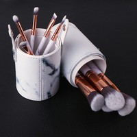 Marble Stripe Makeup Brushes Set Cosmetic Brush Kits Eyeshadow Powder Foundation Blending Marbling Blusher Brush with PUP Tube