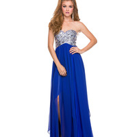 Royal Sequined Strapless Dress