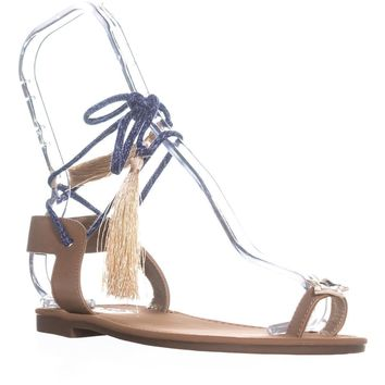 Circus by Sam Edelman Binx2 Lace Up Flat Sandals, Golden Caramel, 6.5 US / 36.5 EU