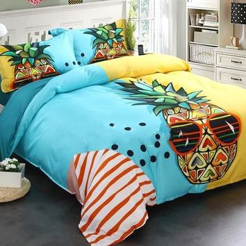 Brocade Cool Pineapple Seaside Leisure Casual Style Luxury 4-Piece Cotton Bedding Sets