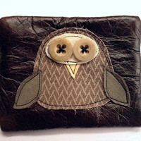 dark brown leather owl purse FREE SHIPPING by mojosewsew on Etsy