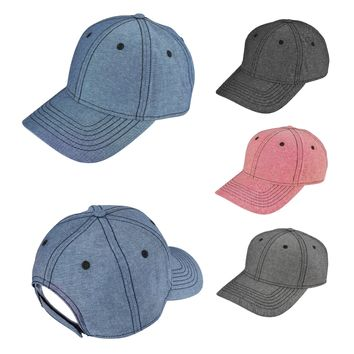 DALIX Chambray Low Crown Cap Curved Bill 6 Panel Hat (4 Colors, Black, Red, Navy Blue, Gray)