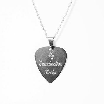 Engraved Guitar Pick, Personalized Name Necklace, Custom Metal Stainless Steel Necklace, Gift for Dad, Gift for Boyfriend