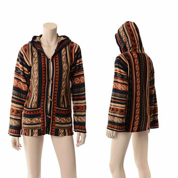 Vintage 70s Southwestern Tribal Hooded Sweater 1970s Bell Sleeve Knit Cardigan Indian Toggle Buttons Hippie Boho Jacket / Medium
