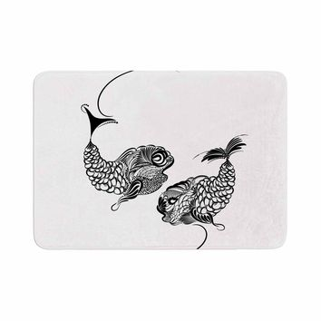 "Maria Bazarova ""Fish Horoscope, Zodiac, Pisces"" White Black Animals Art Deco Vector Illustration Memory Foam Bath Mat"