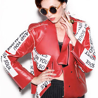 red leather jacket--473