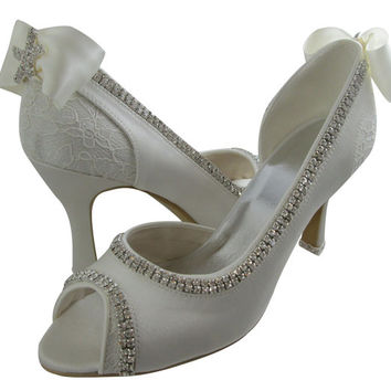 Starfish Wedding High Heels- Ivory Peep Toe- Choose Heel Height- Choose Bling and Bow Colors- 2 inch/ 3.5 inch/ 4.5 inch- Bride Bling Lace