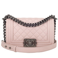 Chanel Baby Pink Quilted Lambskin Small Boy Bag