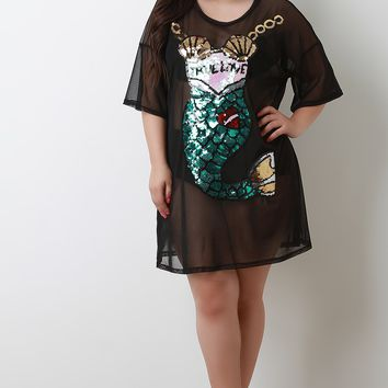 Sequins Mermaid Mesh T-Shirt Dress