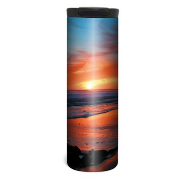 Peaceful Beach Barista Tumbler Travel Mug - 17 Ounce, Spill Resistant, Stainless Steel & Vacuum Insulated