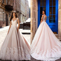 Elegant 2017 Blush Pink V neck Lace Wedding Dresses Embellished Bodice Gorgeous Ball Gown Wedding Gowns Bridal Dress AA63