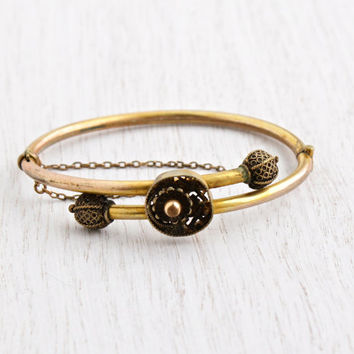 Antique Gold Filled Victorian Bracelet - 1870s Hinged Yellow & Rose Gold Flower Bangle Filled Jewelry / Etruscan Revival Bypass
