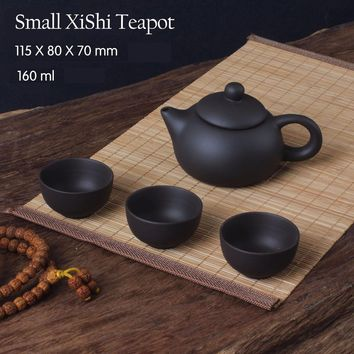 Authentic 4 Pcs Kung Fu Tea Set [1 Teapot + 3 Cups] 150ml XiShi Kettle Infuser Yixing Teapots Handmade Zisha Ceramic Porcelain
