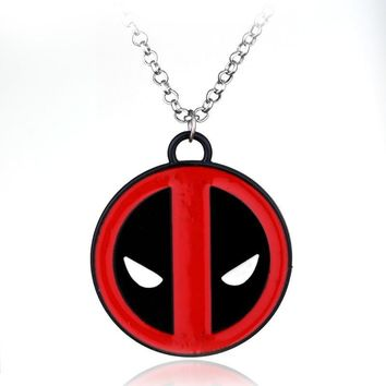Deadpool Dead pool Taco Marvel  Necklace personality Red and Black pendant vintage fashion silver plated round necklaces Jewelry   AT_70_6