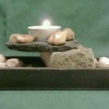 Tealight Candle Holder Slate Rock and Sand by DeerwoodCreekGifts