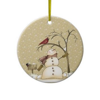 Snowman and Red Bird From Our House To Yours Ornam Christmas Tree Ornaments