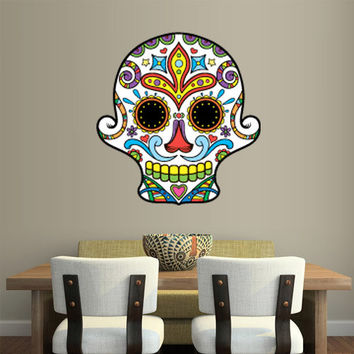 Full Color Wall Decal Mural Sticker Decor Art Beautyfull Cute Sugar Skull Bedroom Curly modern fashion (col605)