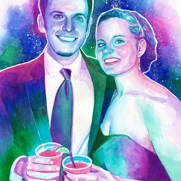 WATERCOLOR CUSTOM PORTRAIT painting of a couple - Couple portrait, couple painting, from photo, first anniversary gift for him, husband gift