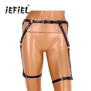 iEFiEL 4 Style Women Adjustable Faux Leather Punk Waist Cincher Harness Belt Leg Garter Stud Rave Cage Harness Belt Suspenders