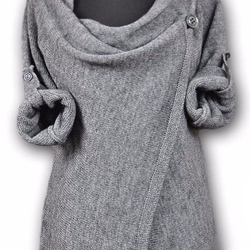 Grey Long Sleeve Asymmetrical Sweater Dress