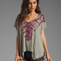 Free People Double Team Tee in Fatigue/Berry Combo