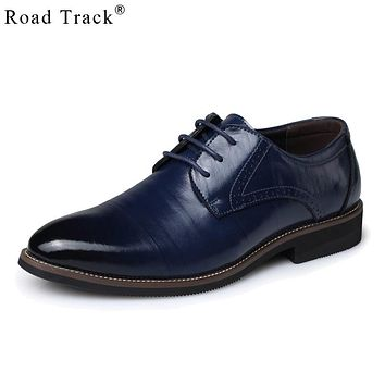 Road Track Dress Shoes For Men Leather Luxury Formal Shoes Fashion Flats Pointed Toe Social Wedding Work Shoes