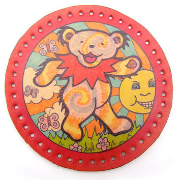 Grateful Dead patch, tie dye dancing bear, sunshine and butterflies, upcycled leather, hand drawn, lacquer, original deadhead art, hippie