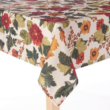 Food Network Harvest Floral Stain-Resistant Tablecloth - 60'' x 102'' Oblong