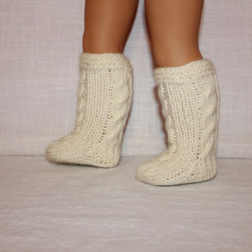 hand knit socks, ivory cable socks, 18 inch doll clothes, american girl, maplelea
