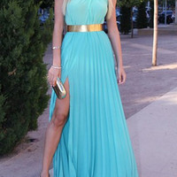 Light Blue Halter Pleated Maxi Dress with Slit
