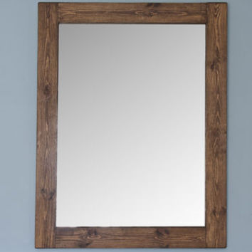 Altan Small Wooden Framed Mirror In Dark/ White Wood