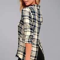 Tavik Ilana Beige and Navy Blue Plaid Button-Up Top