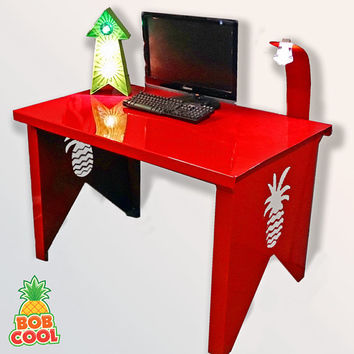 BobCool Red Steel Pineapple Desk with built in Carnival Fairground Lamp