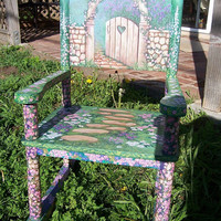 Child's Rocking Chair, hand painted, secret garden, children's furniture, Glenda Okiev