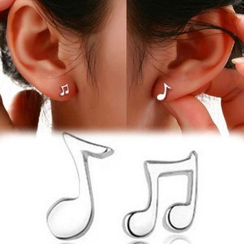 Trendy Lovely Musical Note Shaped Silver Plated Woamn Earrings Charming Jewelry Accessories Ear 0511