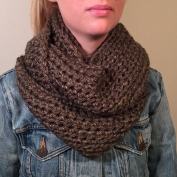 Chunky Infinity Scarf in Charcoal Gray Brown- Thick Crochet Bulky Winter Scarf