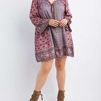 Plus Size Boho Print Shift Dress