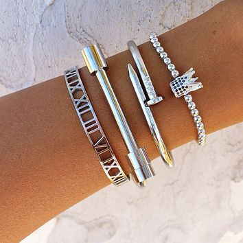Crown Roman Numeral Bracelet Set
