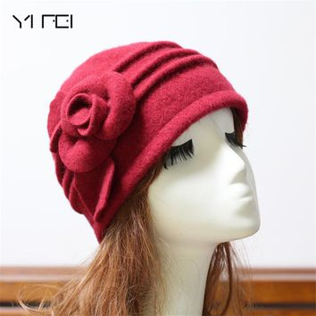 YIFEI 2017 Women Fedoras 100% Pure Wool Dome Winter Hat For Women Floral Casual Brand Warm Lady Autumn Floppy Soft Girl Fedoras