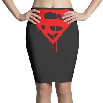 dripping blood superman Pencil Skirts