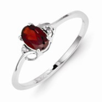 Sterling Silver w/Rhodium Plated Diamond and Garnet Oval Ring