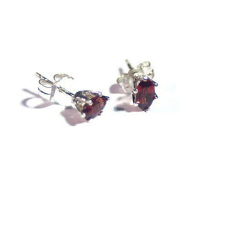 Garnet Earrings, Silver Stud Earrings, Red Sterling Gemstone Jewelry