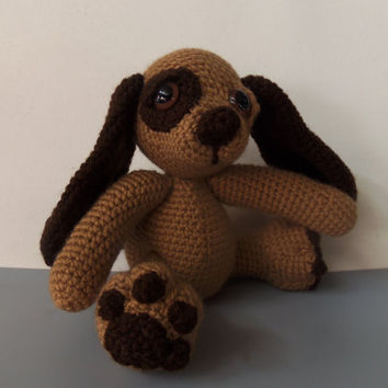 "Moss, The Crochet Brown & Tan Puppy Handmade Pose able Dog 7"" (READY TO SHIP)"